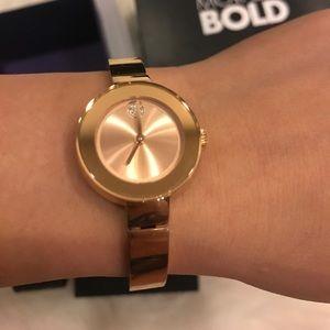 Women Movado Bold rose gold bangle watch